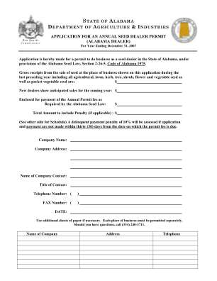 Ag Compliance Application For In State Annual Seed Dealer Permit 2007 Form