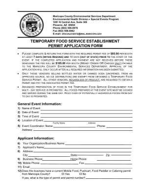 Temporary Food Establishment Permit Application Form