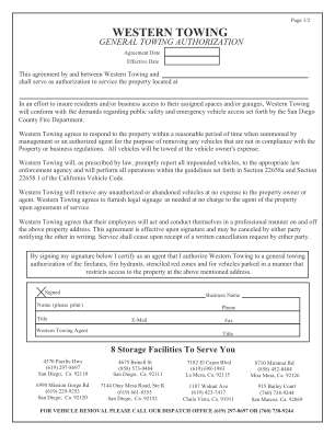 Western Towing Authorization Form