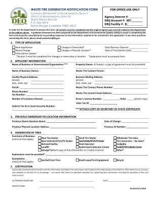 Waste Tire Generator Notification Form Louisiana Department Of