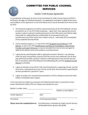 Vbill Access Agreement Form Committee For Public Counsel Services Publiccounsel