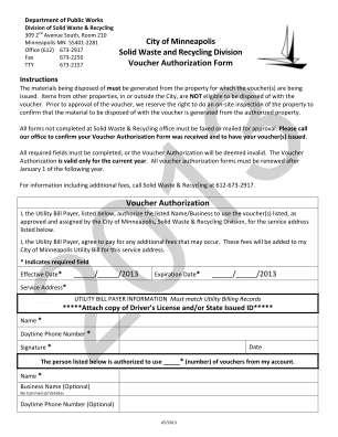 Voucher Authorization Form Pdf City Of Minneapolis Minneapolismn