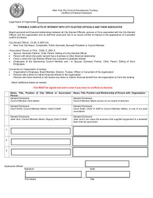 New York City Conflict Of Interest Disclosure Form