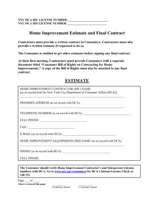 Home Improvement Contract Form
