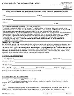 Authorization Cremation Form