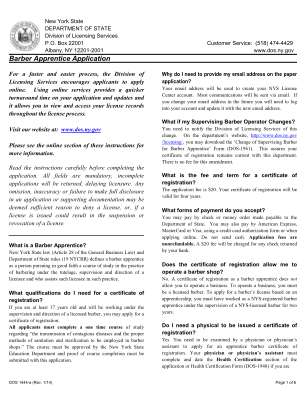 Barber Apprentice Application Pdf Form