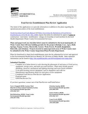Wake County Food Application Form