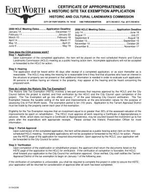 Coa And Hste Application City Of Fort Worth Fortworthtexas