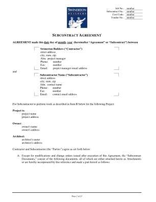 Wa Subcontract Form Part 2 Swinerton Builders