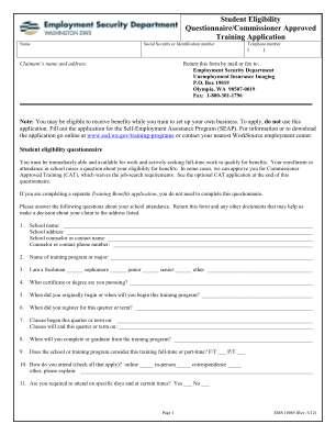 Washington Employment Security Department Student Eligibility Questionnaire 2012 Form