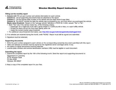 Wrecker Monthly Report 2011 Form