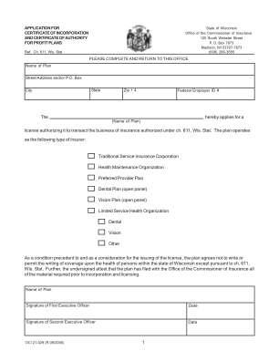 Wisconsin Oci Biographical Form A
