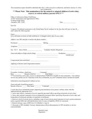 Usna Presidential Nomination Form Fillable