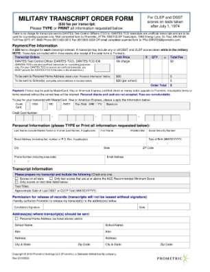 Military Transcript Order Form
