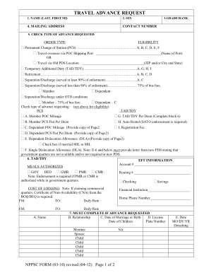 Navy Travel Advance Request Pdf Form