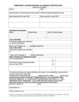 Temporary Lodging Expense Form