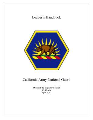 Leaders Handbook California Army National Guard Calguard Ca