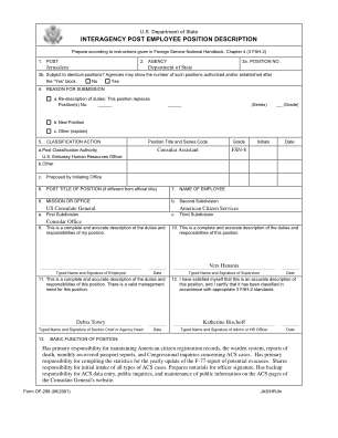 How To Fill Interagency Post Employee Position Description Form