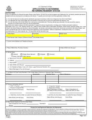 Application To Determine Returning Resedent Status 2013 2019 Form