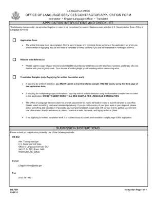 Office Of Language Services Contractor Application Form Application State