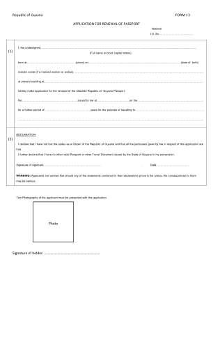 Guyana Passport Form