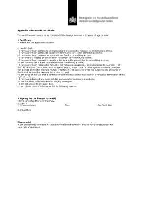Antecedents Certificate Form