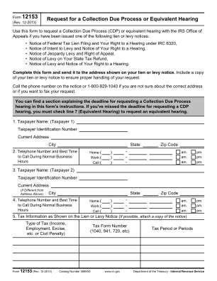 Irs Form 12153 2013 2019
