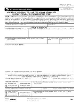 Va Form 21 0781 2014 2018