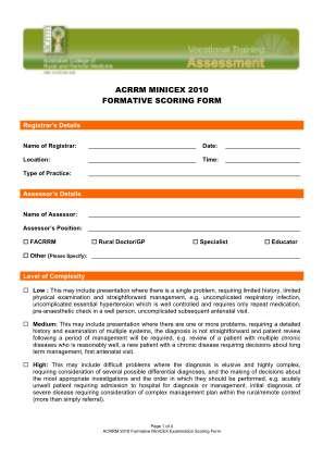Acrrm Minicex Formative Scoring Form Australian College Of Acrrm Org