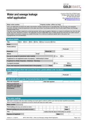 Water And Sewage Leakage Relief Application Gold Coast City Goldcoast Qld Gov
