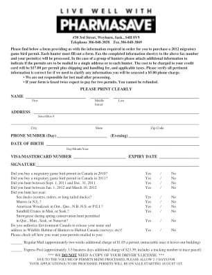 Weyburn Review Migratory Game Permit Form