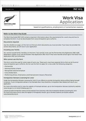Working Visa Application In New Zealand 2014 2019 Form