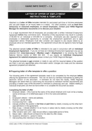 Hanz Employment Contract Form