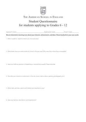 Download The Student Questionnaire In Pdf Format Tasis The Bb