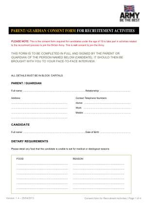 Army Parental Consent Form