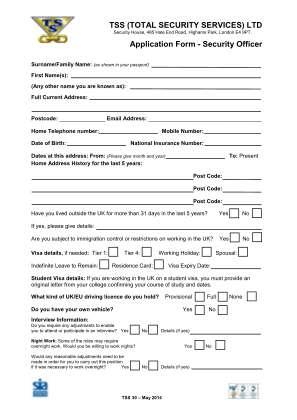 Tss Application Form