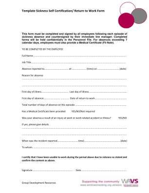 Template Sickness Self Certification Return To Work Form Windowonwoking Org