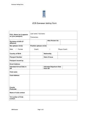 Ecb Vetting Overseas 2016 Form
