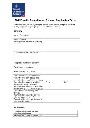 Civil Penalty Accreditation Form