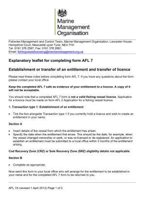 Explanatory Leaflet For Completing Form Afl 7 Marine Management Marinemanagement Org