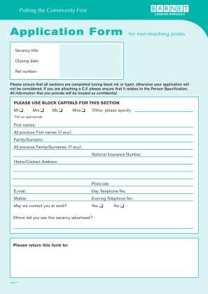 Application Form Barnet Council Barnet Gov