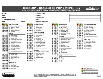 Operator Daily Checks On Telehandlers Form