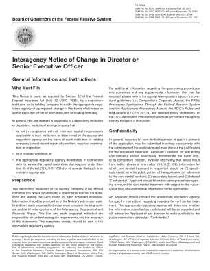 Interagency Notice Of Change In Director Form