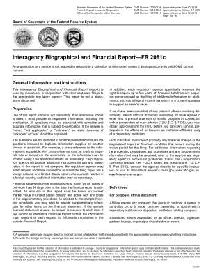 Interagency Biographical And Financial ReportFR 2081c Federal