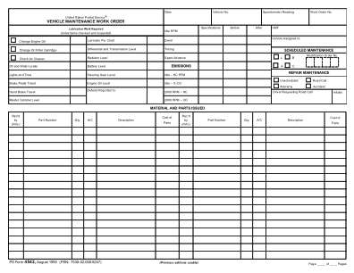 Work Order Vehicle History Form