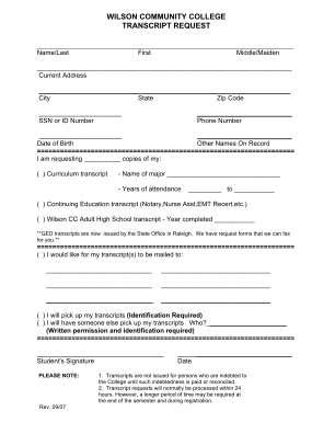 Wilson Community College Form
