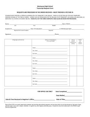 Westwood High School Transcript Request Form Sharpschool