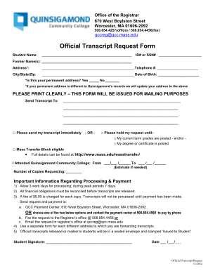 Official Transcript Request Form Quinsigamond Community College Qcc