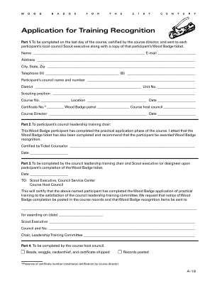 Wood Badge Training Recognition Form