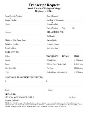 Transcript From North Carolina Wesleyan College Form